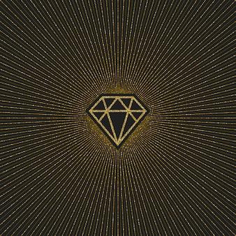 サンバースト付きのグリッターゴールドシャイニングダイヤモンド。