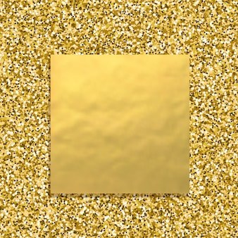 Glitter golden background with square gold banner, sparkling dust texture
