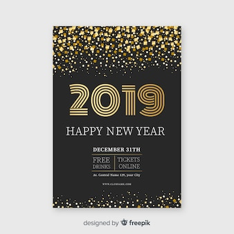 Glitter happy new year 2019 poster