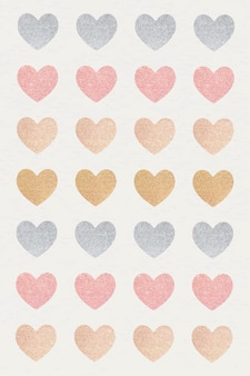 Glitter heart sticker set