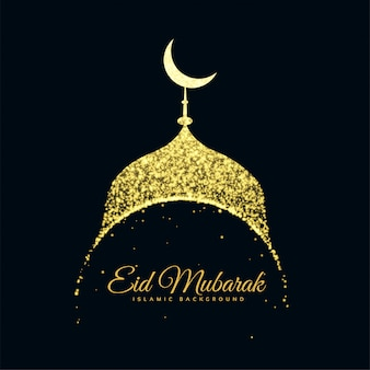 Glitter mosque eid mubarak background