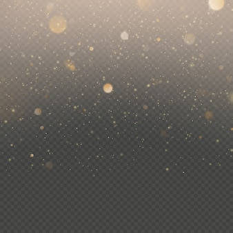 Glitter particles overlay effect. gold glittering star dust sparkling particles on transparent background.