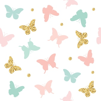 Glitter, pastel pink and blue butterflies seamless pattern.