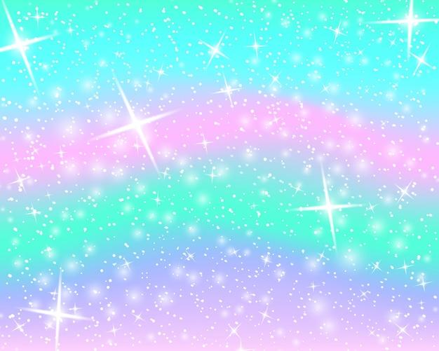 Блеск радуги фона. небо в пастельных тонах. яркий образец русалки. векторная иллюстрация единорог красочный фон.