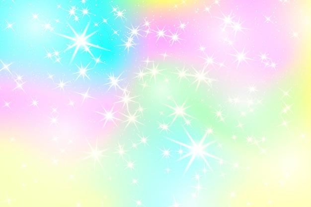 반짝이 무지개 배경. 파스텔 색상의 하늘입니다. 유니콘 화려한 배경입니다. 프리미엄 벡터