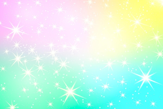 반짝이 무지개 배경. 파스텔 색상의 하늘입니다. 유니콘 화려한 배경입니다.
