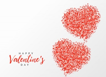 Glitter red heart creative design for valentine's day
