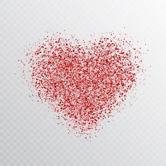 透明で分離されたキラキラ赤いハート