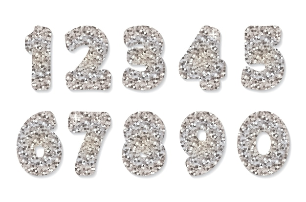 Блестящие серебряные цифры.