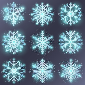 キラキラスノーフレーク。雪のデザインの冬、クリスマスの装飾、季節の飾り、ベクトルイラスト