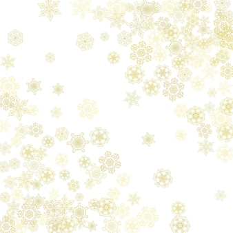 Glitter snowflakes frame on white background. winter window. shiny christmas and new year frame for gift certificate, ads, banners, flyers. falling snow with golden glitter snowflakes for party invite