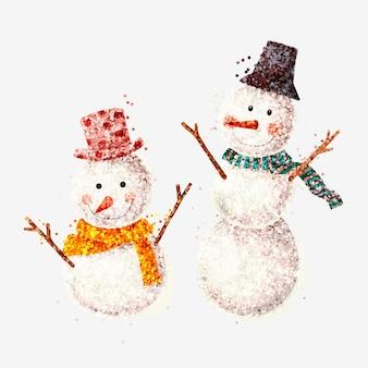 Pupazzo di neve glitter sorridente isolato