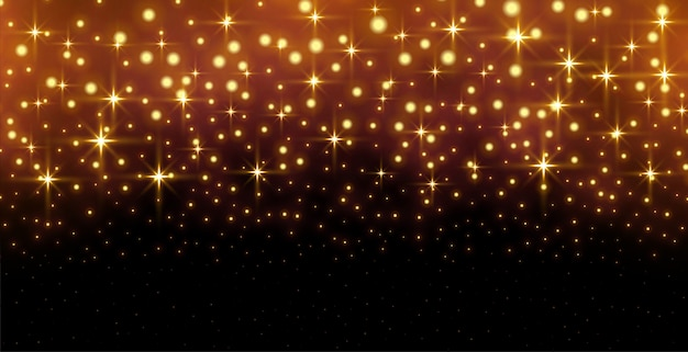 Glitter sparkles golen background with light effect
