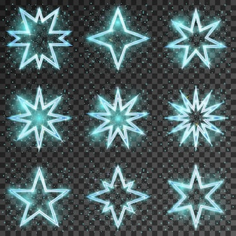 キラキラ星。明るく輝く装飾クリスマス、きらめきとシンチレーション、ベクトルイラスト