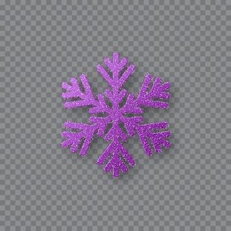 반짝이 보라색 눈송이. 크리스마스 장식 디자인 요소입니다. 설날 장식. 투명 한 배경에 고립. 벡터 일러스트 레이 션.