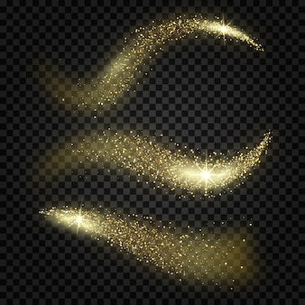 Glitter waves on transparent background