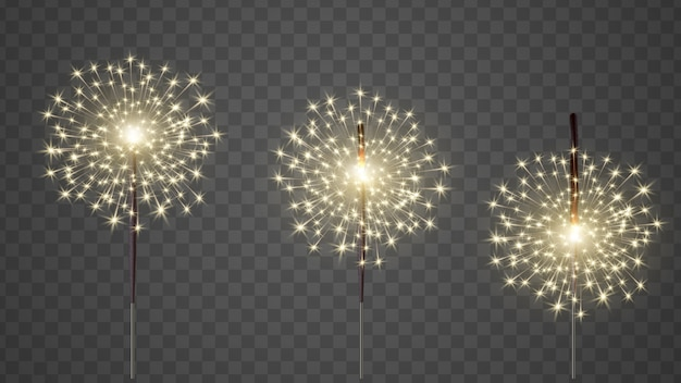 Glittering burning bengal light realistic vector set.
