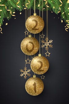 Glittering christmas balls with numbers new year and fir tree. grunge brush.
