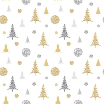 Glittering christmas pattern with fir trees