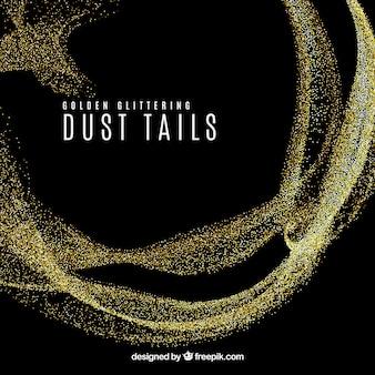 Glittering dust tail in golden style