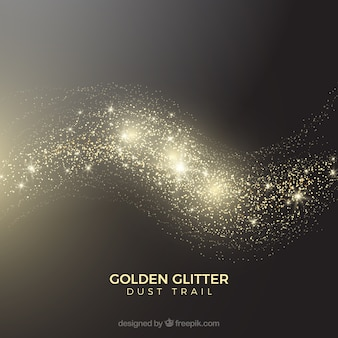 Glittering dust tail in golden style