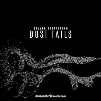 Glittering dust tails in silver color