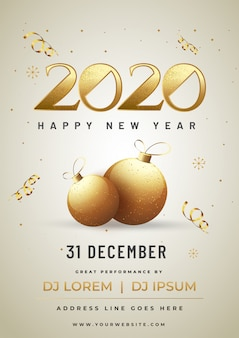 Glittering golden poster with text 2020 with baubles and event details for happy new year celebration