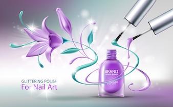 Glittering nail polish