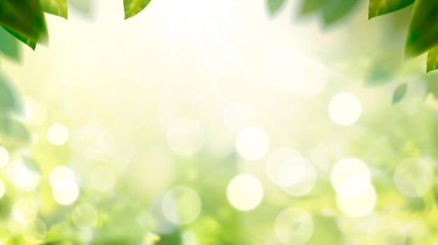 Glittering nature bokeh background with green leaves frame in 3d