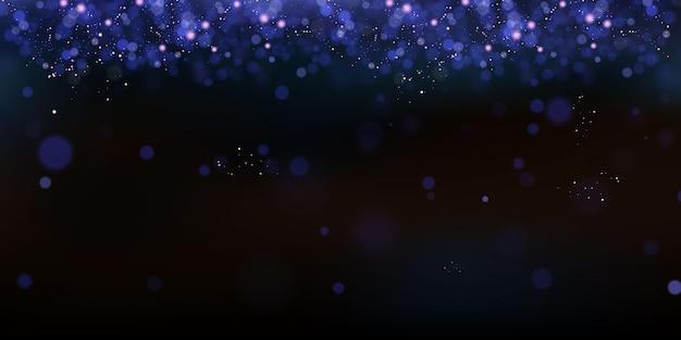 妖精のほこりのきらびやかな粒子。魔法の概念。抽象的なお祭りの背景。クリスマスの背景。スペースの背景。