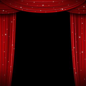 きらびやかな赤いカーテン。キラキラカーテンの背景を開きます。展示会や劇場のインテリア用のカーテン、カーテン付きのプレミアスクリーン