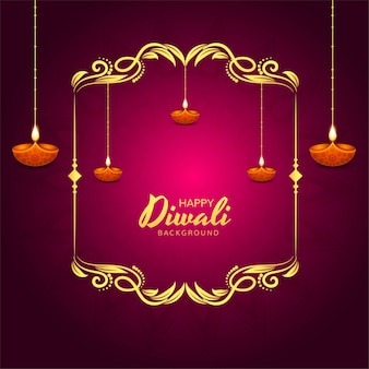 Glittering religious diwali festival beautiful lamps background