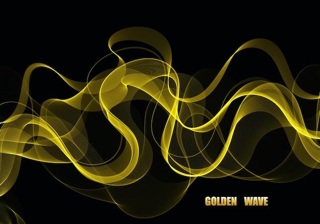 상품권, 초대장, 판촉 상품 및 웹사이트를 위한 반짝이는 스팽글. 황금빛 반짝이 효과가 있는 골드 투명 웨이브 디자인 요소입니다.