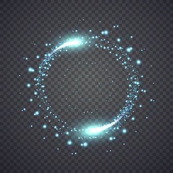 Glittering star dust lights circle isolated