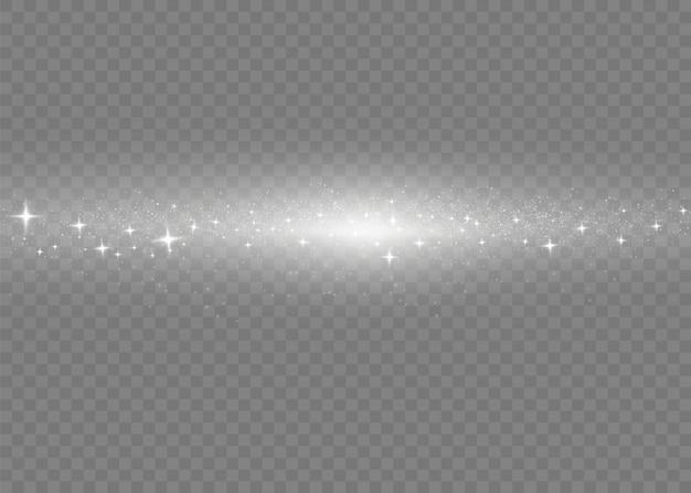 Блестит на прозрачном фоне. искры звезд, сверкают особым световым эффектом. звездная пыль.