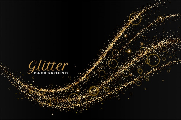 Glitterting dust golden trail black background