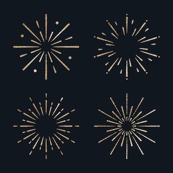 Vettore di fuochi d'artificio festosi scintillanti d'oro