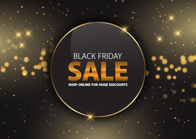 Sfondo di vendita del black friday oro scintillante con stelle e luci bokeh