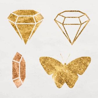 Glittery gold diamond icon set