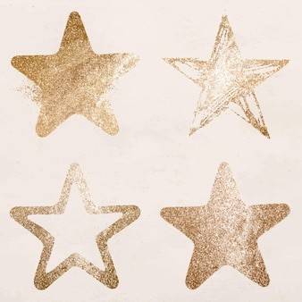 Glittery gold star icon set