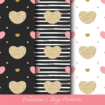 Glittery golden valentine's day seamless patterns