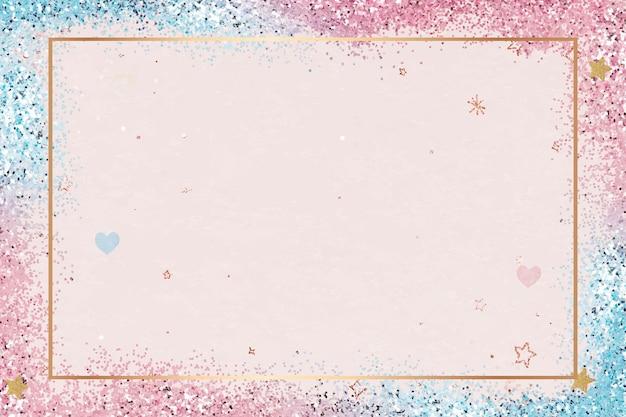 Glittery heart pattern frame  gradient background