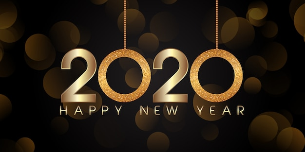 Glittery style happy new year banner