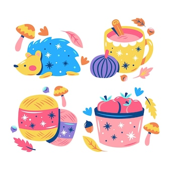 Glitzy autumn stickers collection