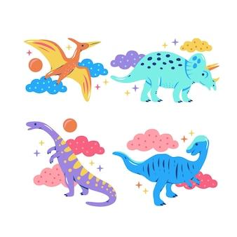 Коллекция стикеров блестящих динозавров