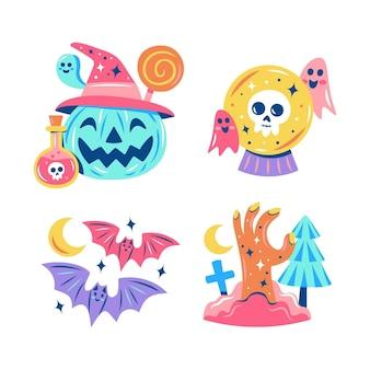Коллекция блестящих наклеек на хэллоуин