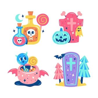 Collezione di adesivi scintillanti di halloween