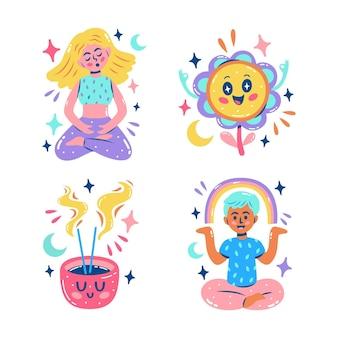 Pacchetto di adesivi sfavillanti di meditazione