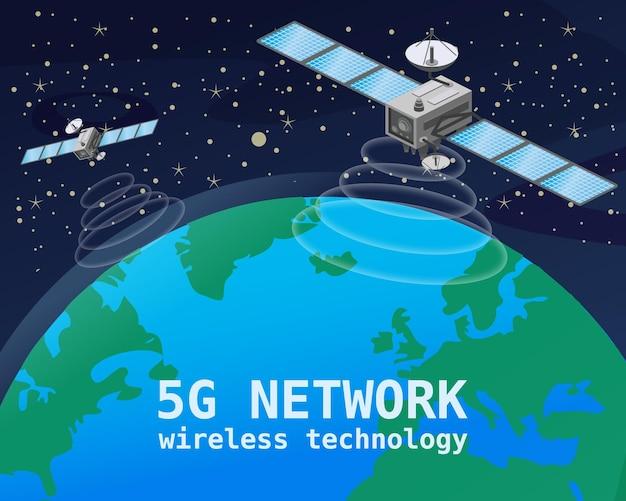 글로벌 5g 인터넷 네트워크 위성 통신. 지구 무선 기술 위를 공전하는 위성