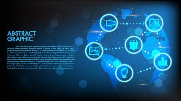 グローバル抽象的なデジタルビジネスとテクノロジーのハイテクコンセプトの世界地図の背景